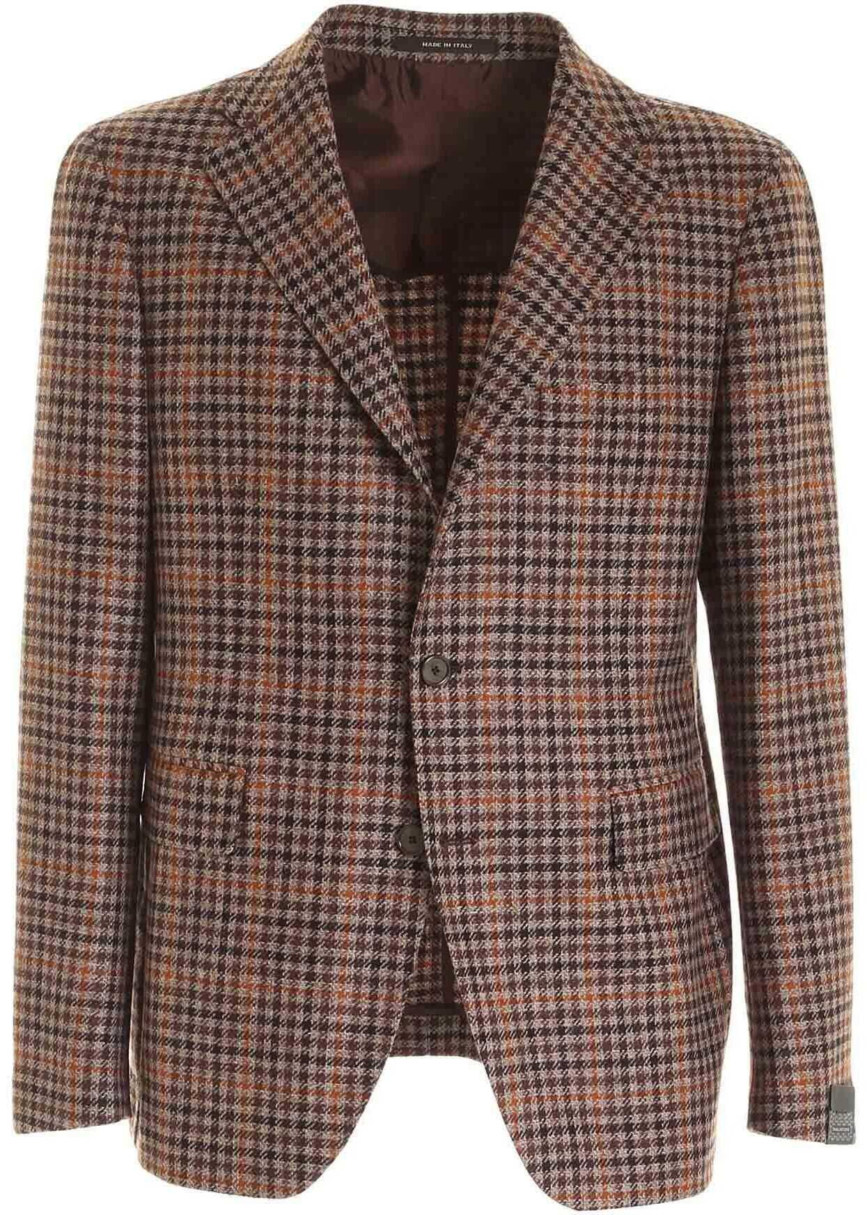 Tagliatore Single-Breasted Jacket In Melange Brown Brown imagine