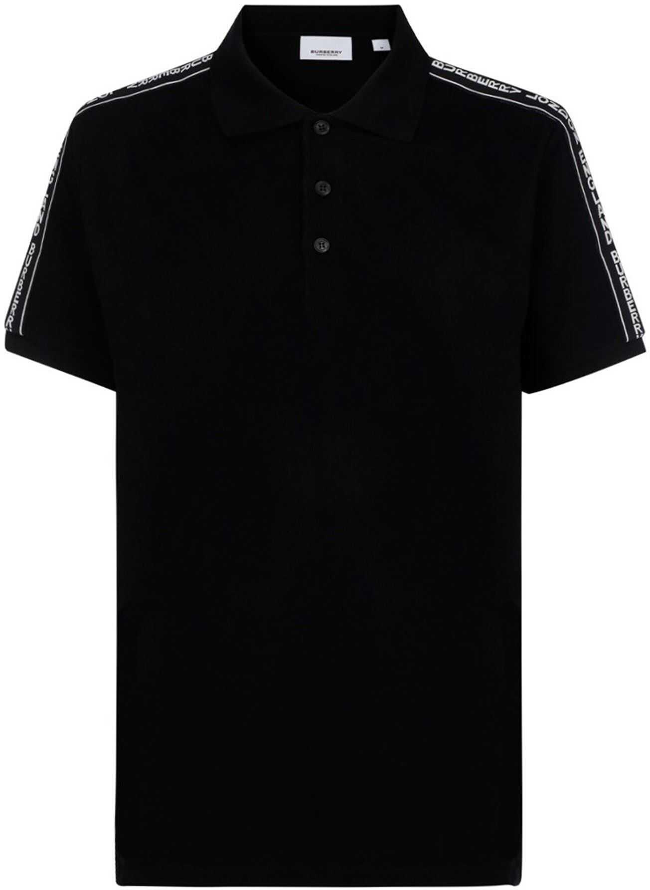 Burberry Tape Logo Polo Shirt In Black Black imagine
