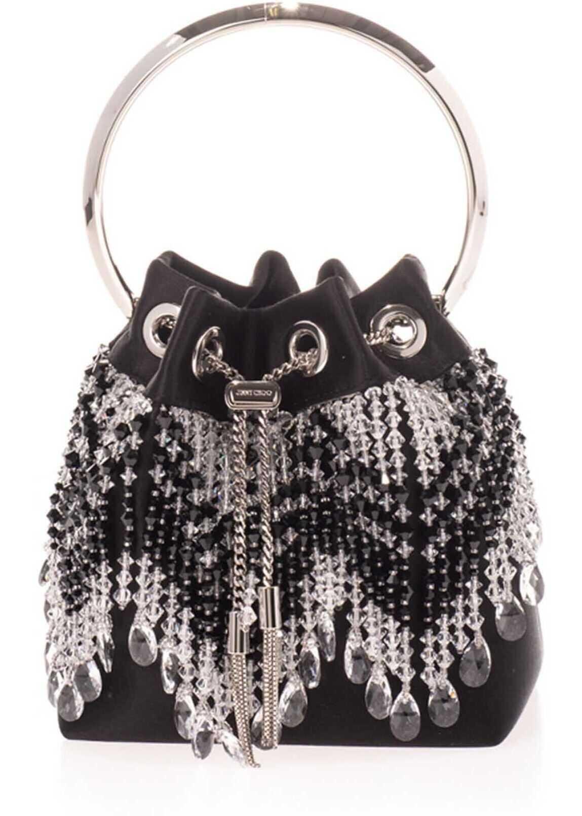 Jimmy Choo Bon Bon Crystal Tote Bag In Black BON BON AOI BLACK/CRYSTAL Black imagine b-mall.ro