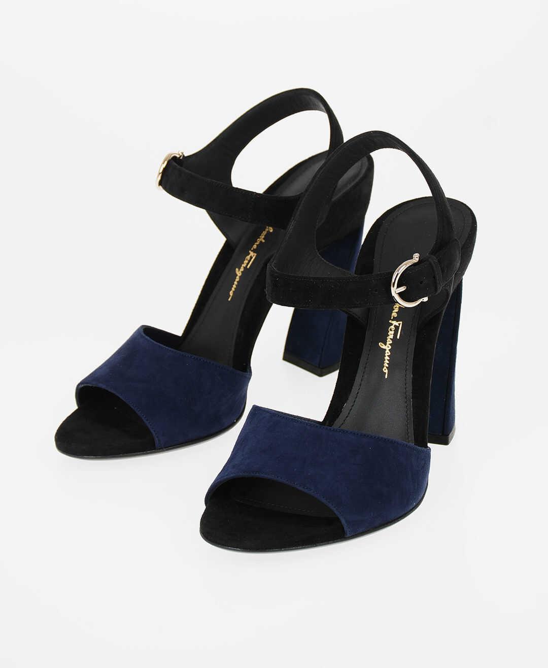 Salvatore Ferragamo 10.5cm Suede leather AEDE Ankle-strap sandals BLUE imagine b-mall.ro