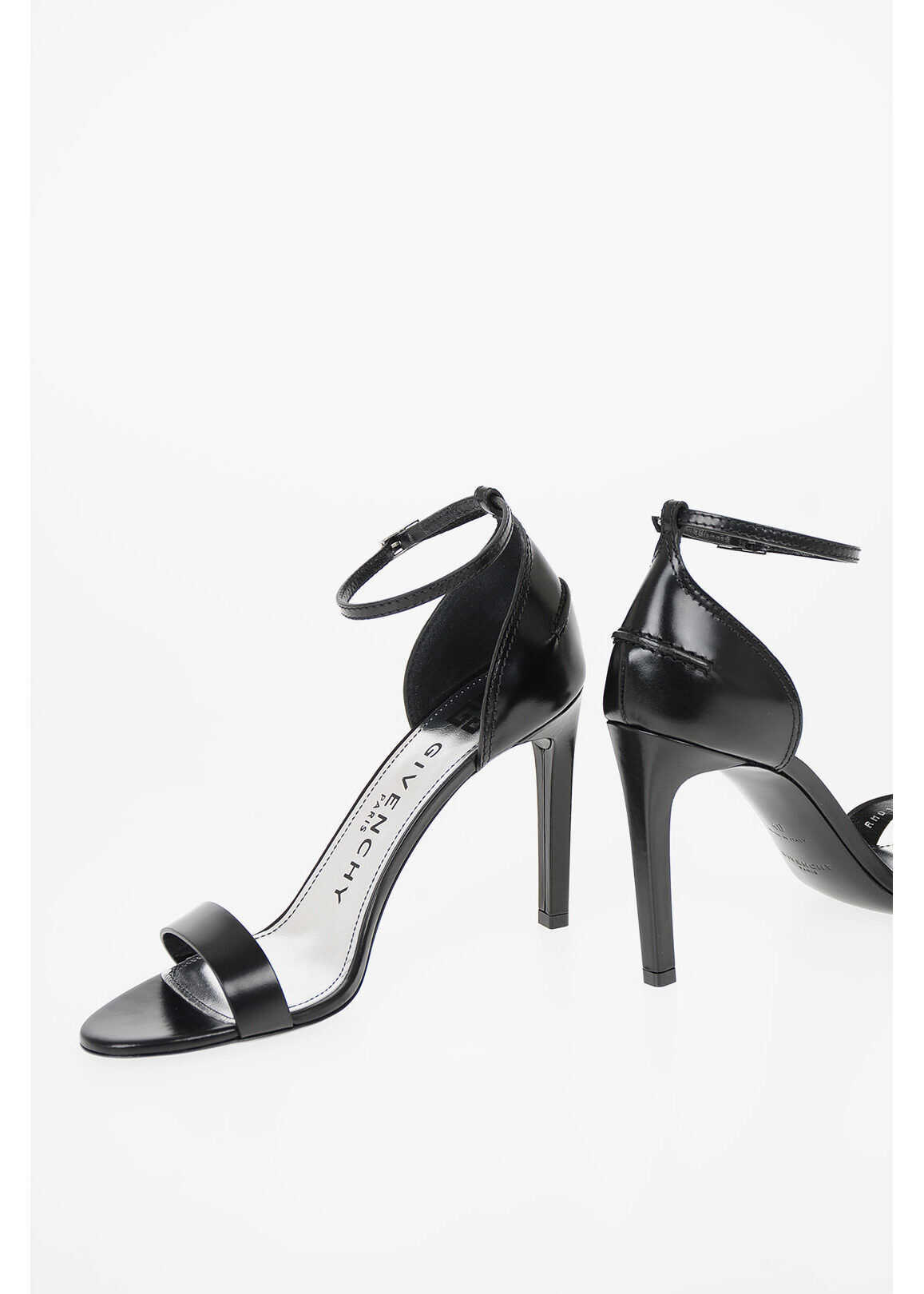 Givenchy 10cm leather SHOW Stiletto Heel Ankle-strap sandals BLACK