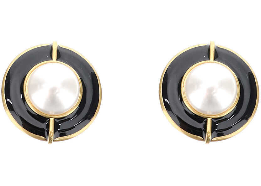 Saint Laurent Heritage Clip Earrings OR LAITON NOIR BLANC