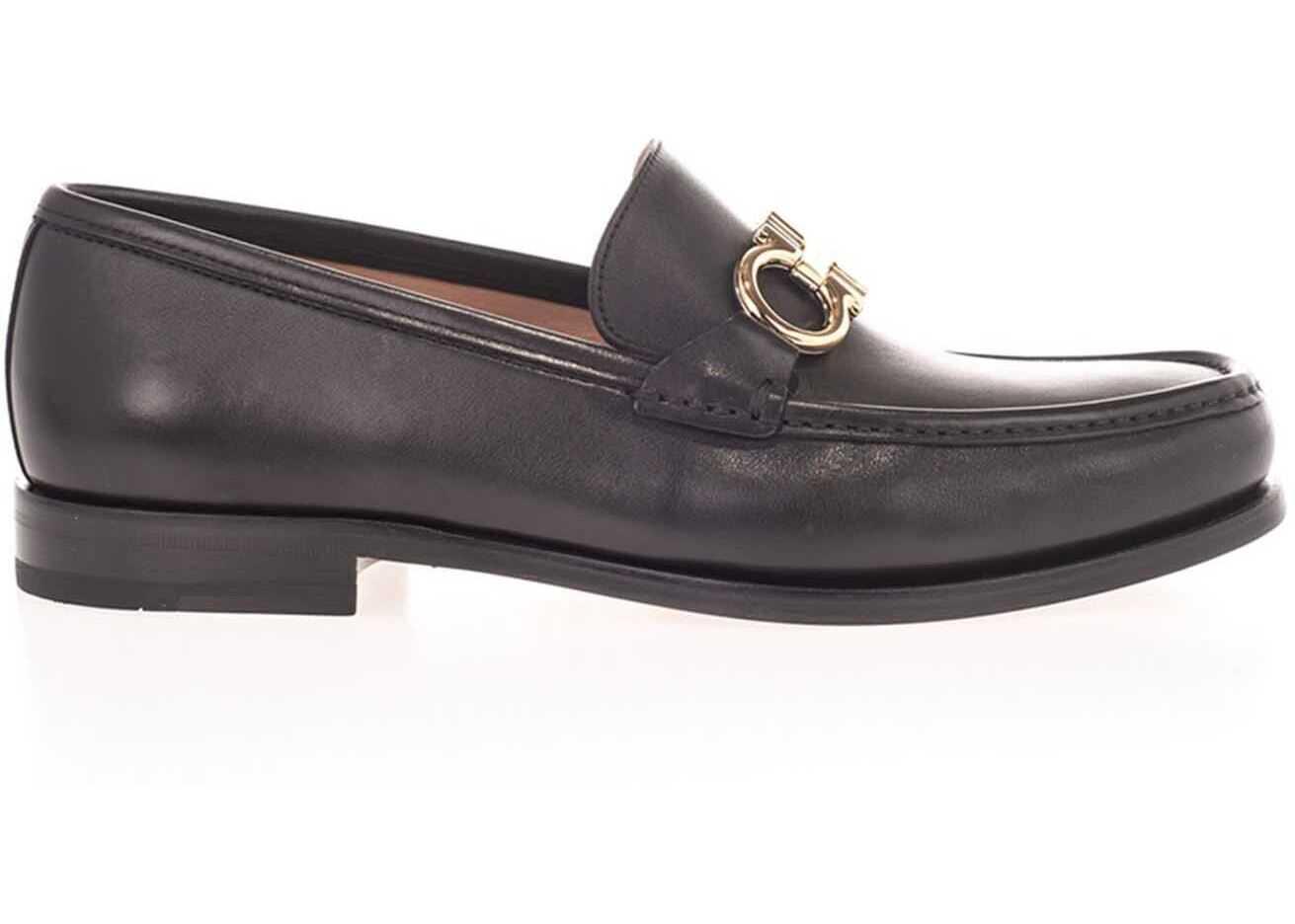 Salvatore Ferragamo Gancini Loafers In Black 712557 Black imagine b-mall.ro