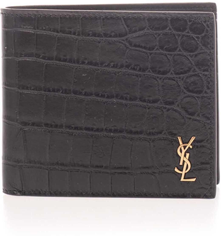 Ysl East/West Wallet Croco Print In Black