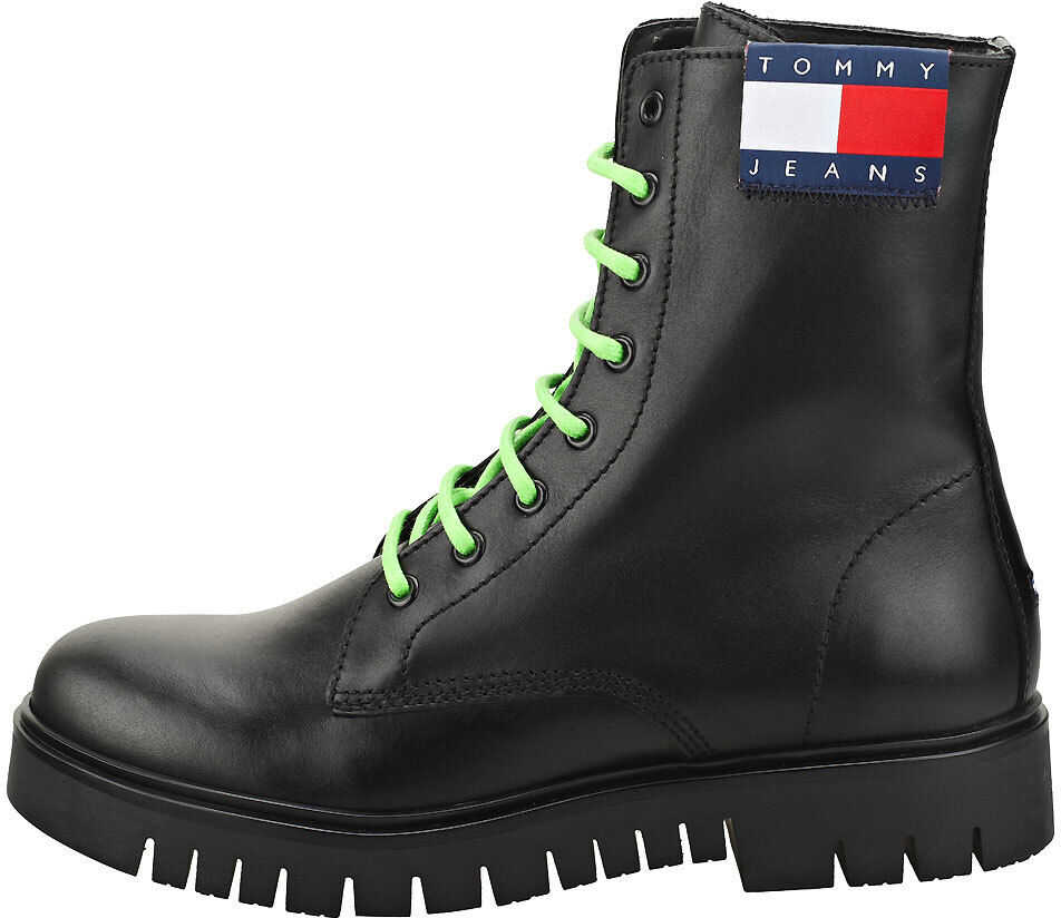 Tommy Jeans Neon Detail Lace Up Fashion Boots In Black* Black