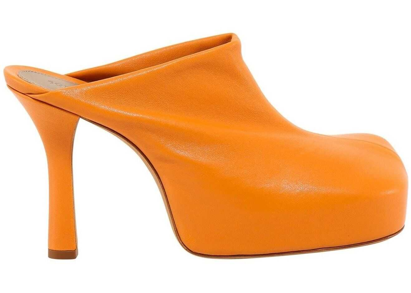 Bottega Veneta Leather Heeled Mules In Orange 630148 VBP40 7648 Orange imagine b-mall.ro