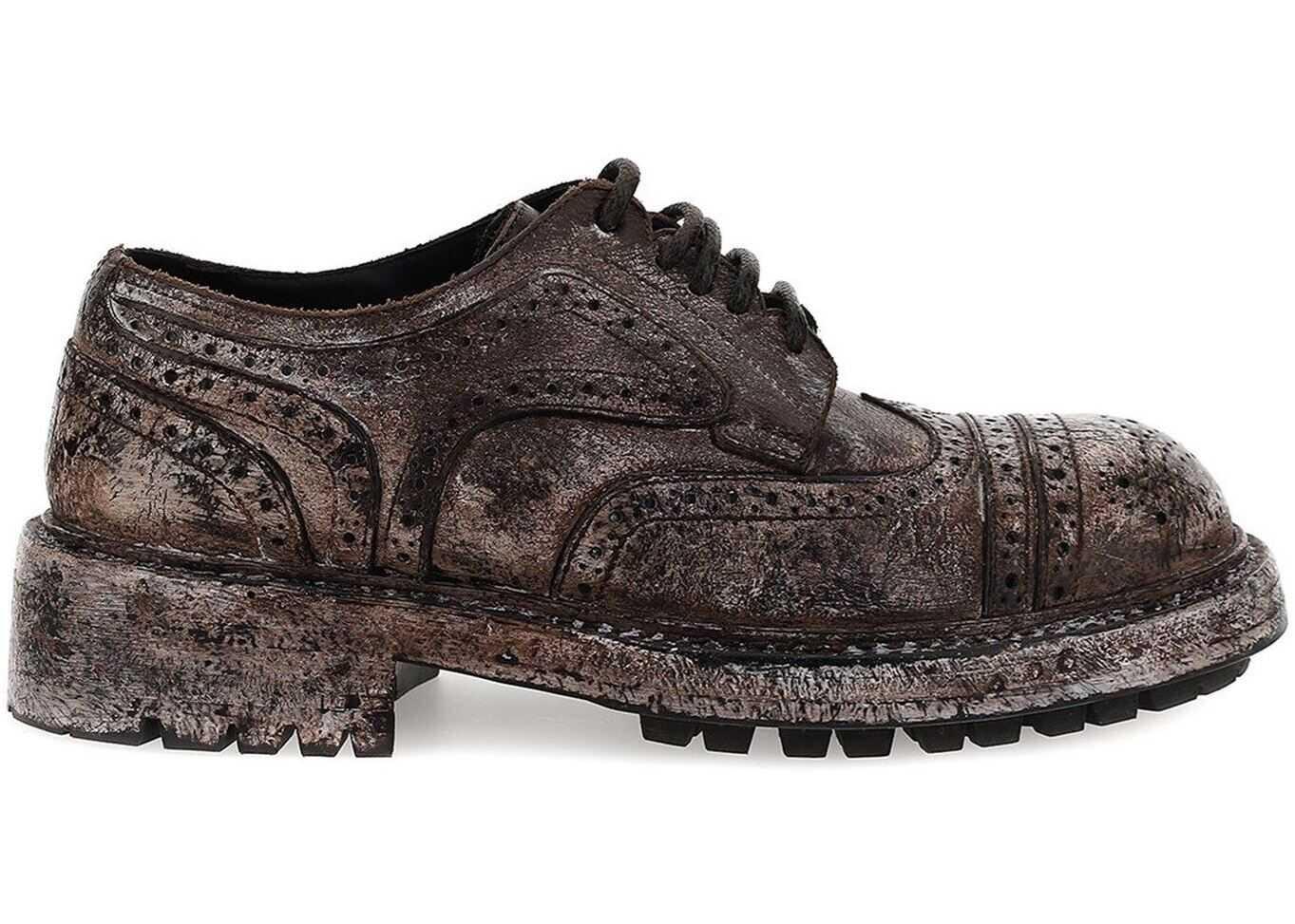 Dolce & Gabbana Bernini Brogues In Brown A10655 AX535 80048 Brown imagine b-mall.ro