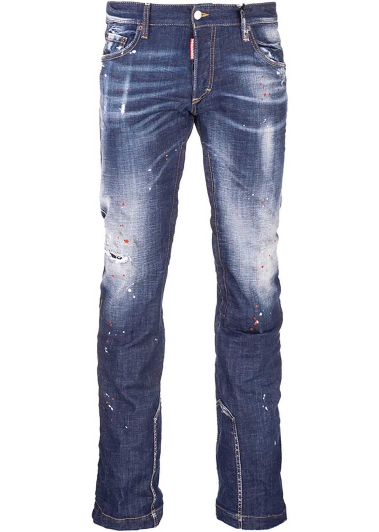 DSQUARED2 Ski I-Phone Dark Wash Jeans In Blue Blue imagine