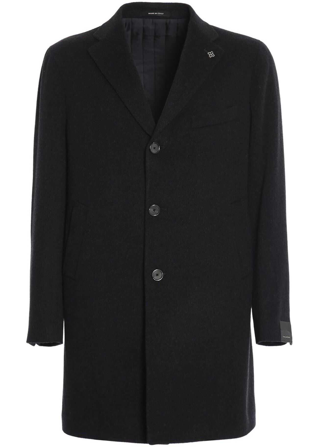 Tagliatore Soft Wool And Cashmere Cloth Coat In Black Grey imagine
