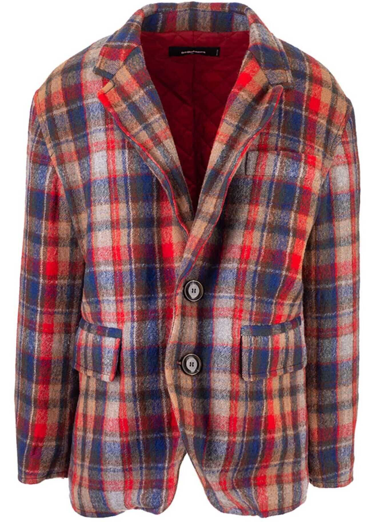 DSQUARED2 Padded Oversized Checked Blazer In Red Red imagine