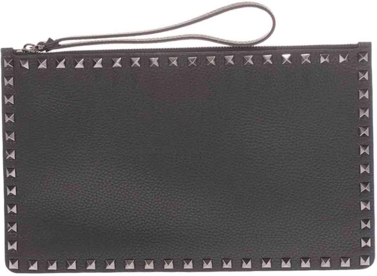 Valentino Garavani Rockstud Clutch Bag In Black UY2P0692VAP 0NO Black imagine b-mall.ro