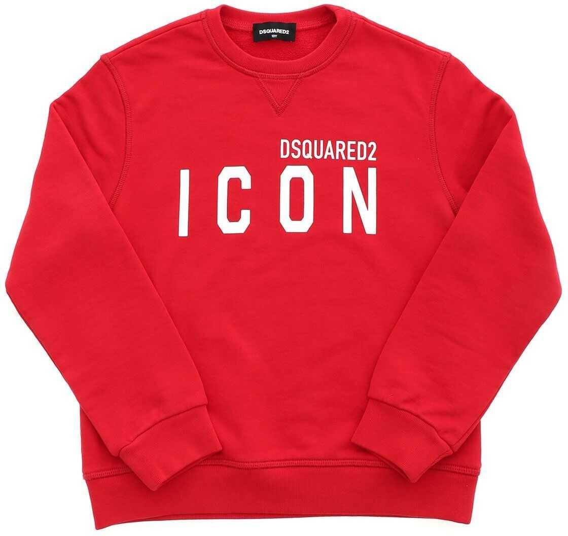 DSQUARED2 White Logo Sweatshirt In Red Red