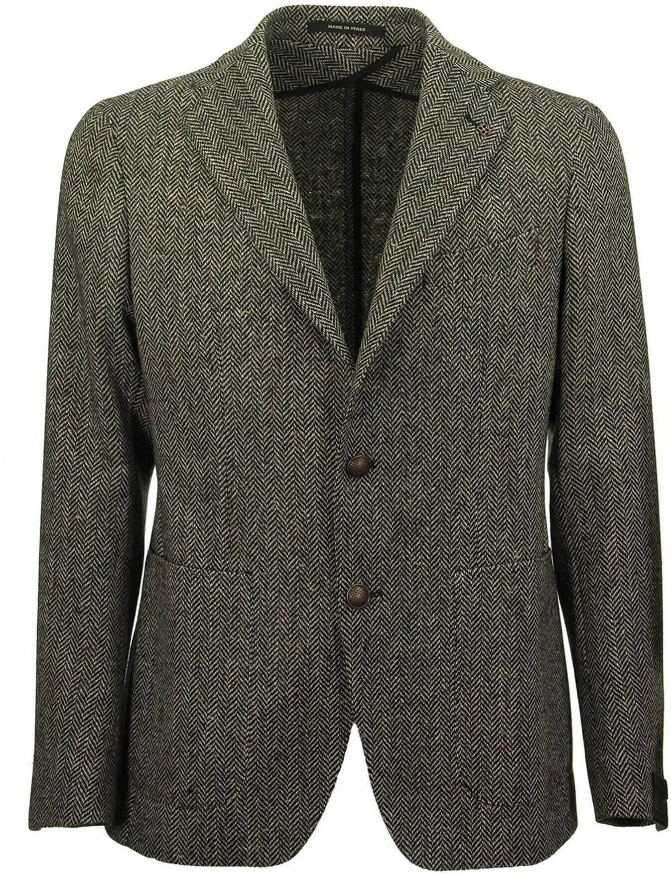 Tagliatore Herringbone Blazer In Grey Grey imagine