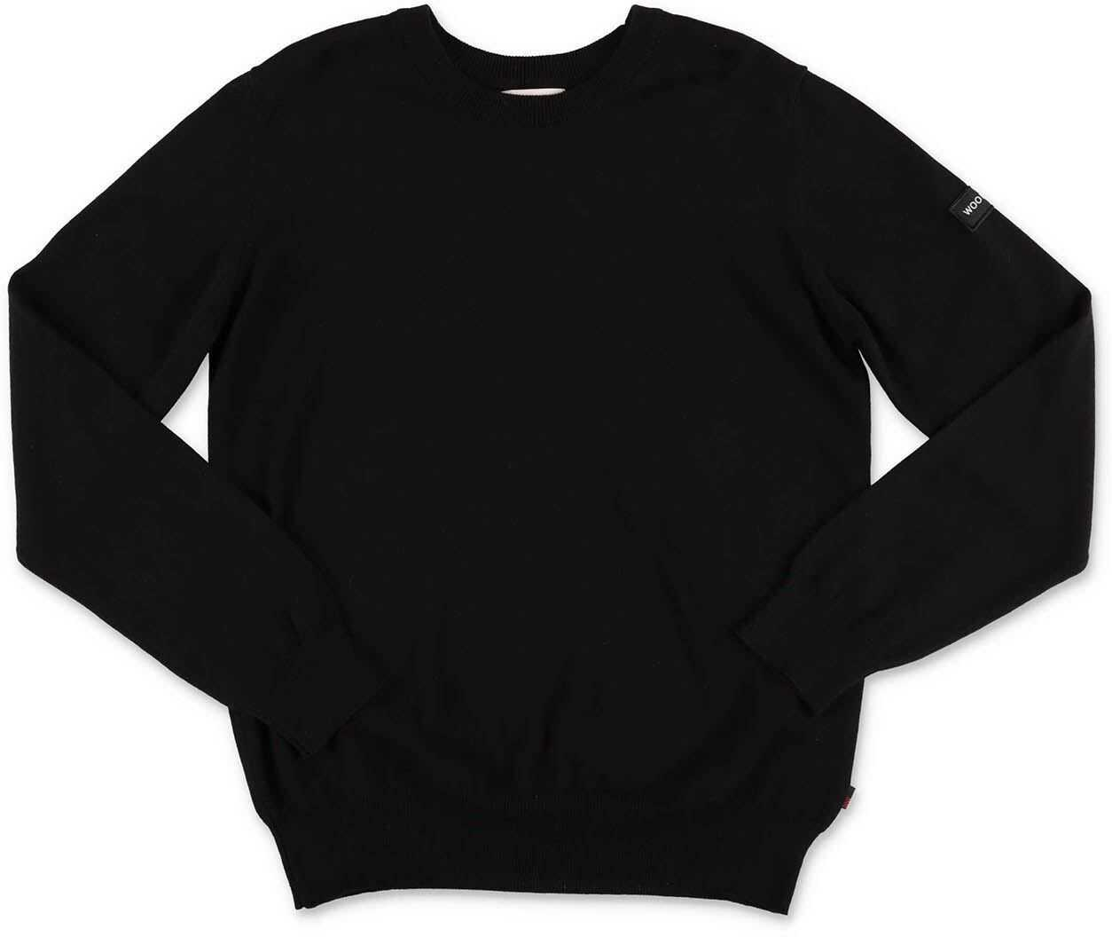 Woolrich Black Sweater With Logo Black