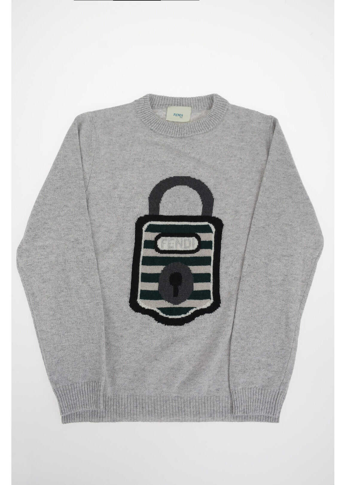 Fendi Kids embroidered crew-neck sweater GRAY