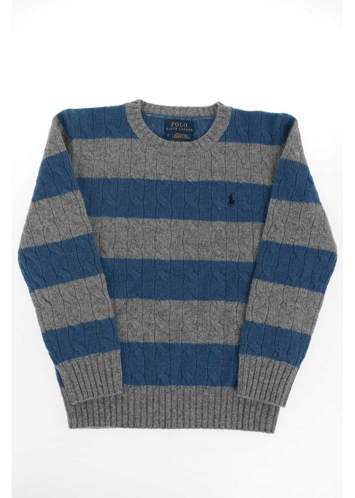 Polo Ralph Lauren Kids two-tone cable knit crew-neck sweater MULTICOLOR