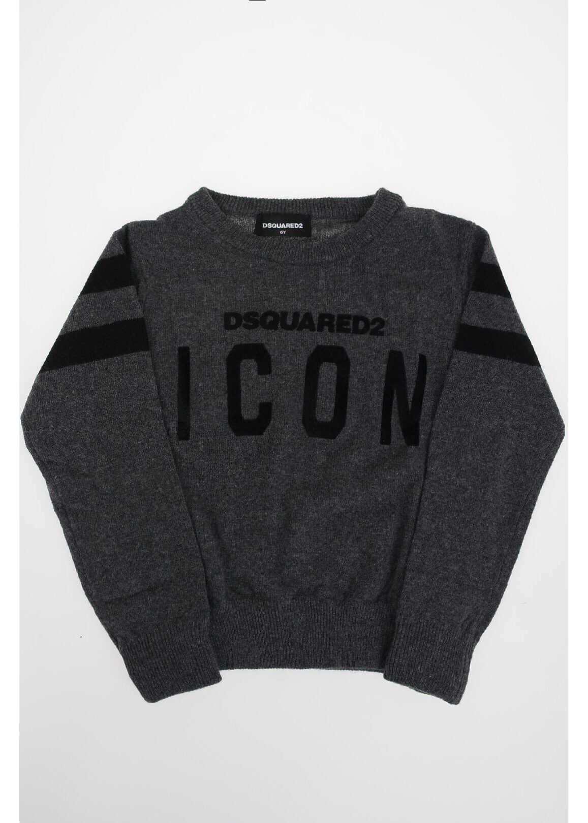 Dsquared2 Kids crew-neck ICON sweater GRAY