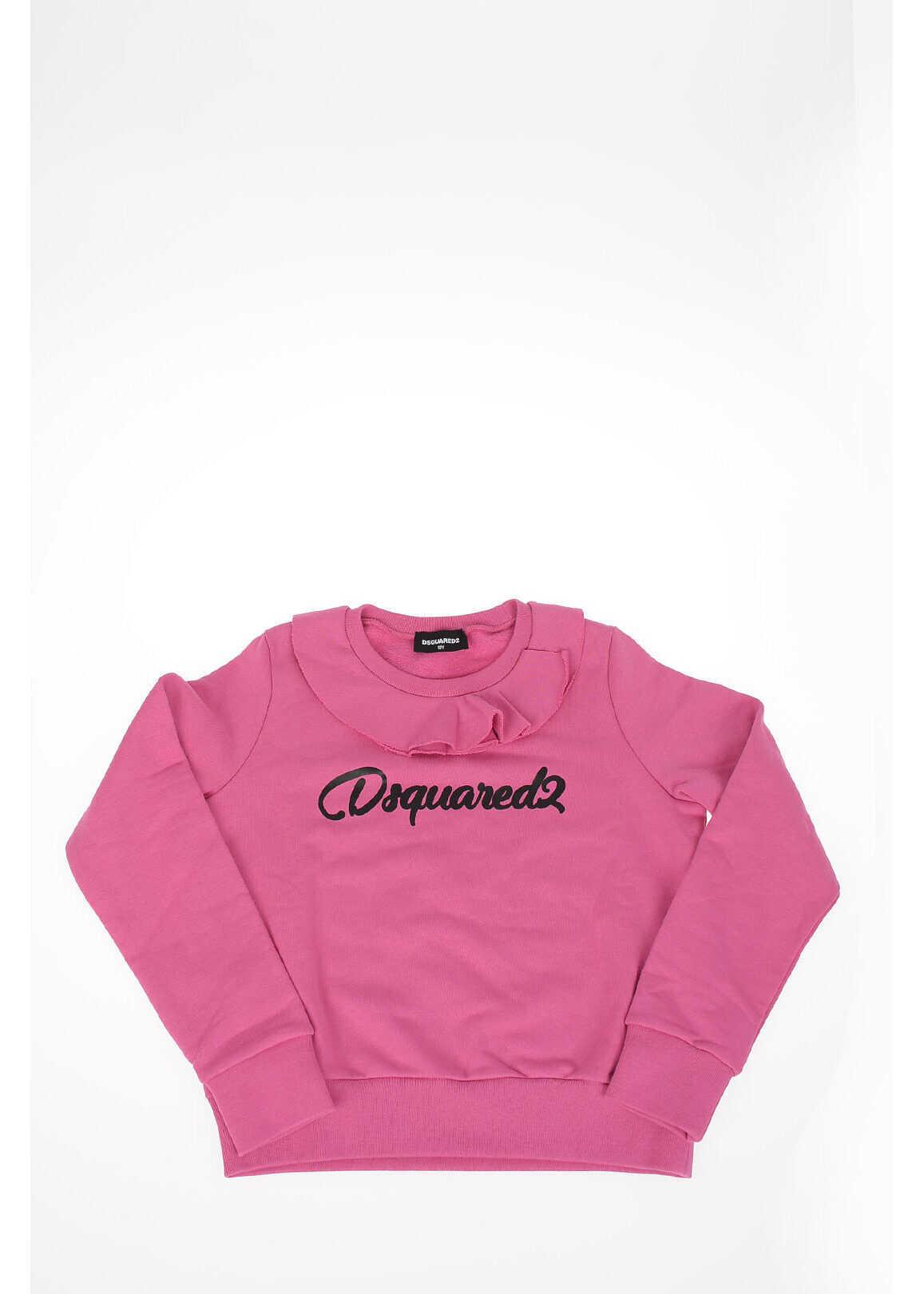 Dsquared2 Kids crew-neck sweatshirt with Ruffles PINK
