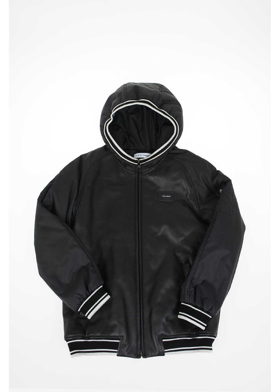 Dolce & Gabbana Kids leather applications hooded outerwear BLACK