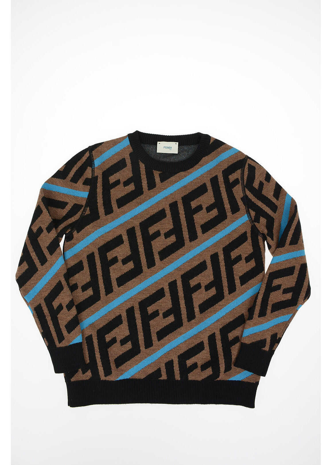 Fendi Kids All over Logo ZUCCA crew-neck sweater BROWN