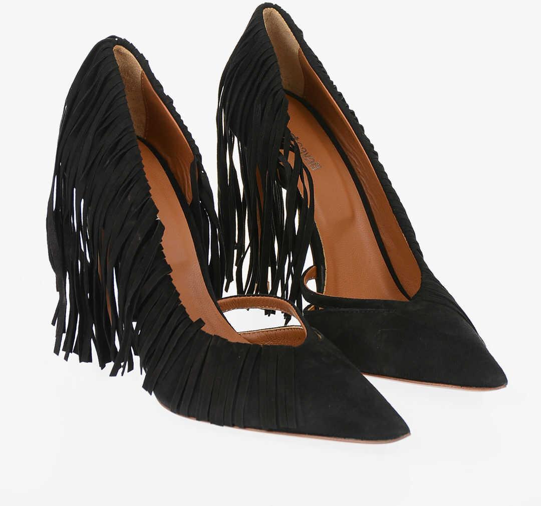 Just Cavalli 12cm Suede Leather Fringe Pumps BLACK imagine b-mall.ro