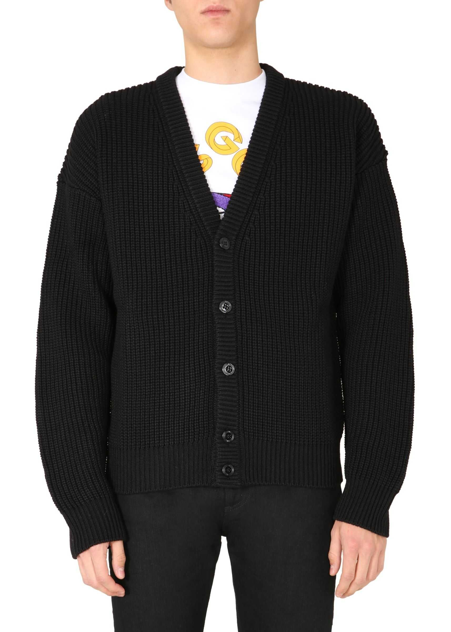 GCDS Oversize Fit Cardigan BLACK imagine
