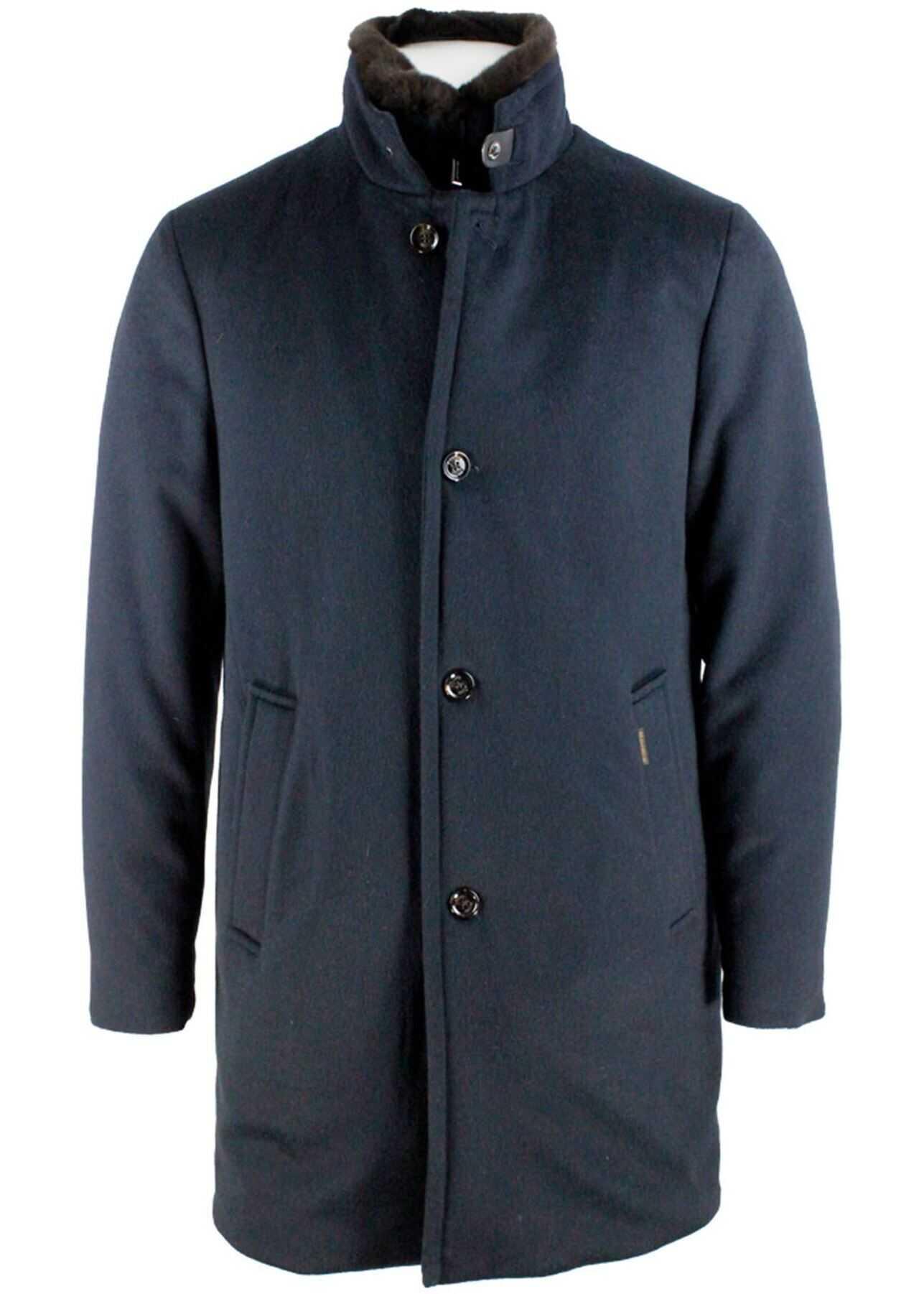 Moorer Blue Padded Coat Featuring Fur Blue imagine