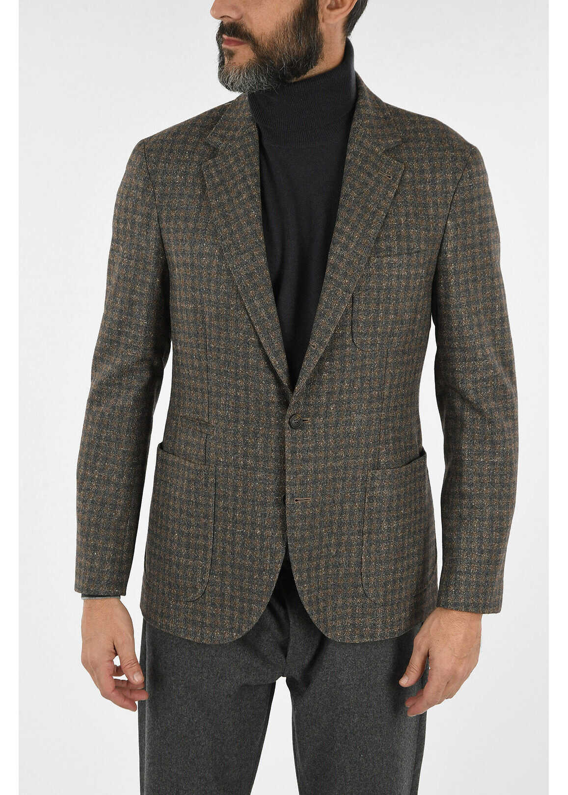 Brunello Cucinelli Wool Checked Blazer BROWN imagine
