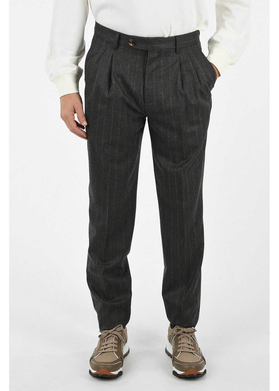 Brunello Cucinelli Wool Pin striped Pant GRAY imagine