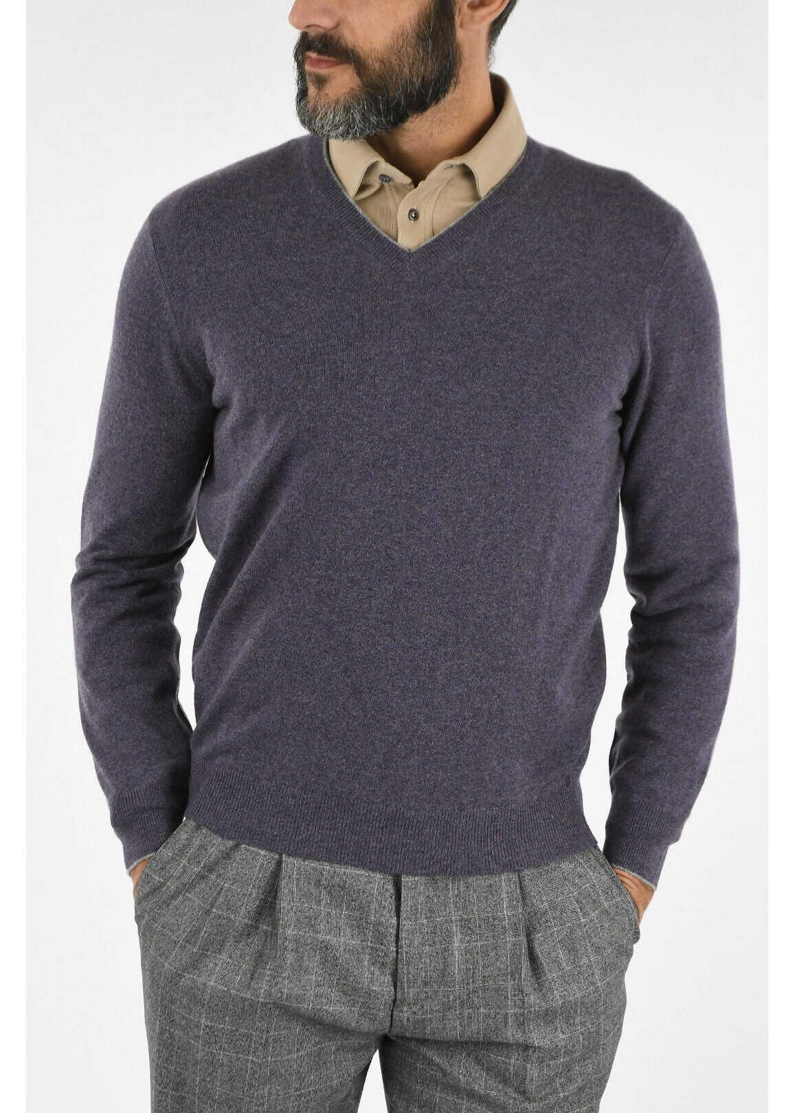 Brunello Cucinelli Cashmere V-neck Sweater VIOLET imagine