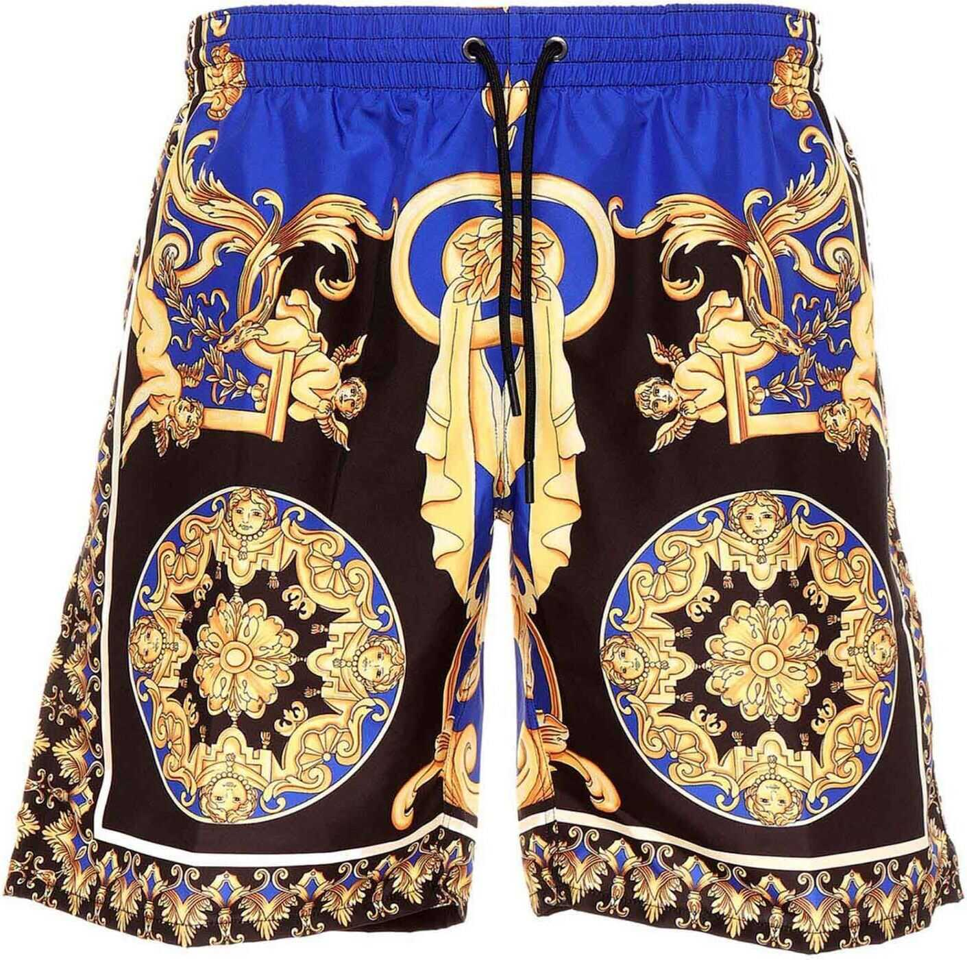 Versace Swim Shorts In Blue And Yellow Multi imagine