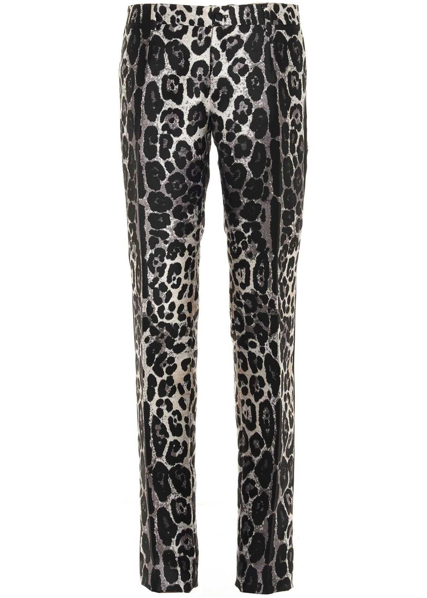 Dolce & Gabbana Leopard Print Tuxedo Pants Animal print imagine