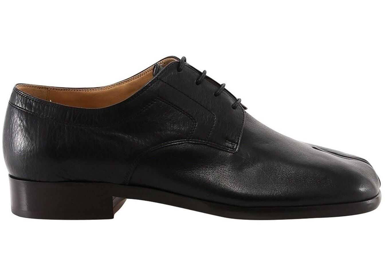 Maison Margiela Tabi Thong Lace-Up Shoes S37WQ0319 P2696 T8013 Black imagine b-mall.ro