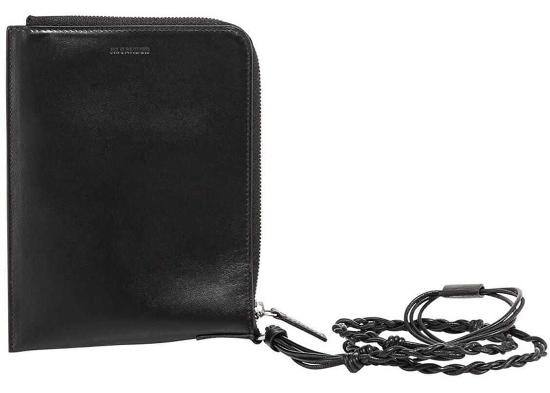 Jil Sander Tangle Leather Passport Cover JSMR840091 MRS0008N 001 Black imagine b-mall.ro