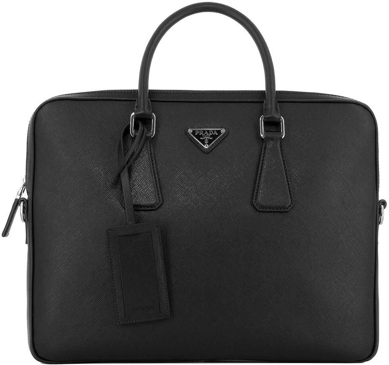 Prada Saffiano Leather Briefcase With Logo In Black 2VE3689Z2F0002 Black imagine b-mall.ro