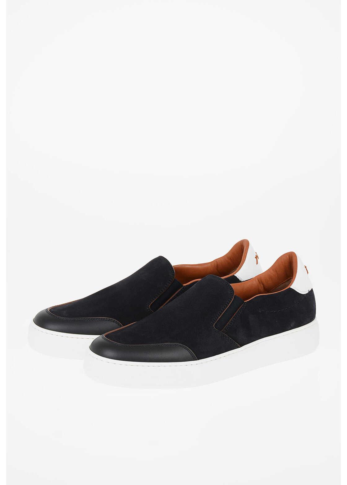 Ermenegildo Zegna COUTURE Suede Leather TIZIANO Slip on BLUE imagine b-mall.ro