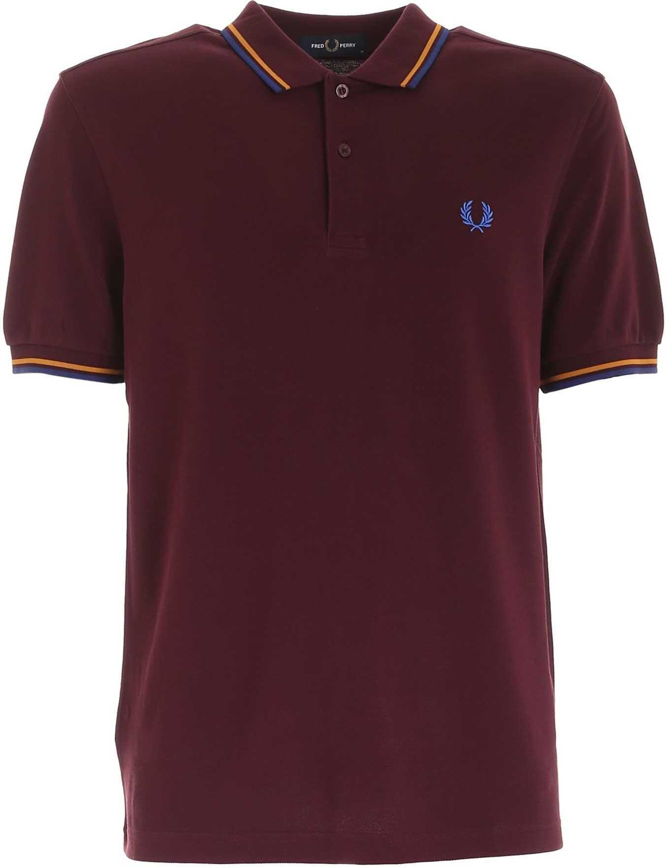 Fred Perry Embroidered Logo Polo Shirt In Mahogany Color Purple imagine