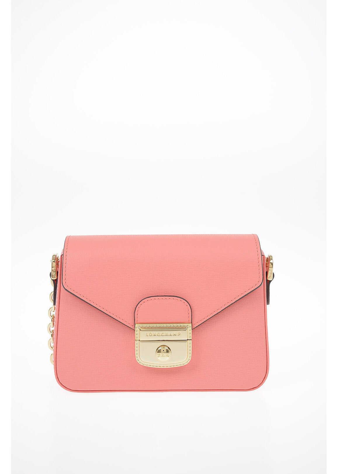 Longchamp Leather Mini Shoulder Bag PINK imagine b-mall.ro