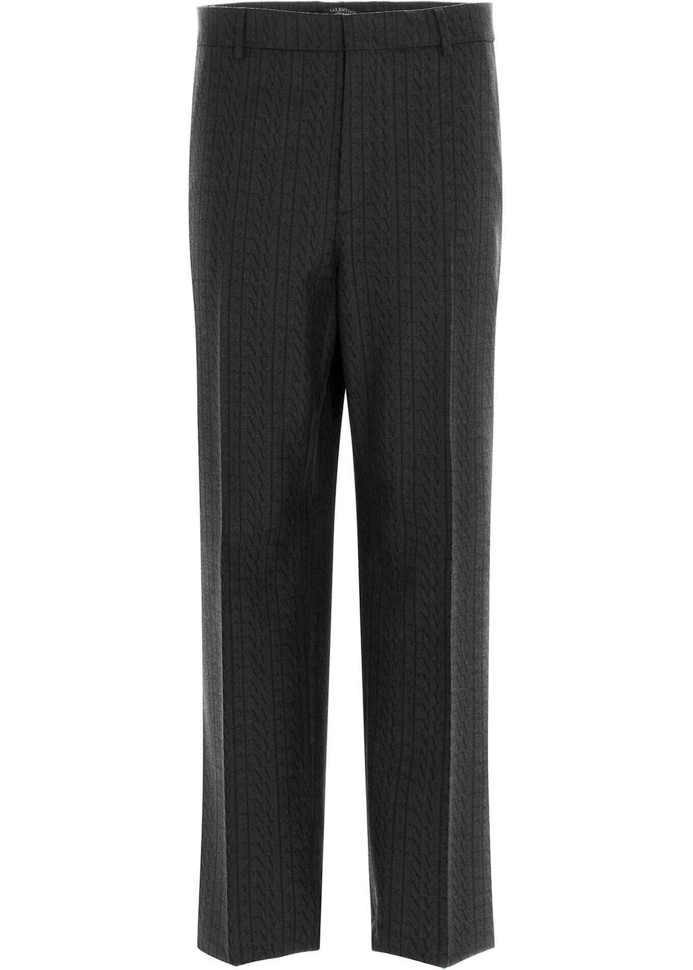 Valentino Garavani All-Over Vltn Straight Pants In Grey Grey imagine