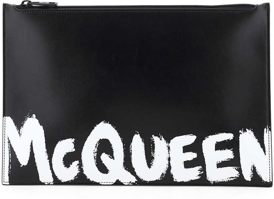 Alexander McQueen Flat Pouch Graffiti Logo 560472 1NT5B BLACK WHITE imagine b-mall.ro