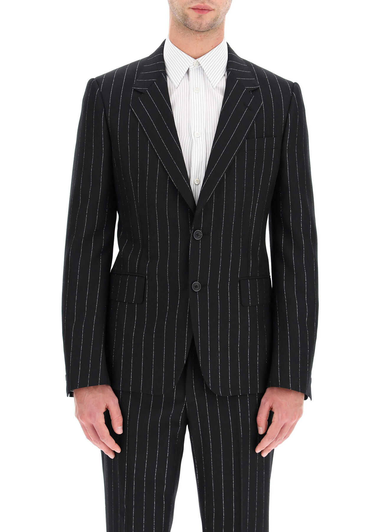 Alexander McQueen Lurex Pinstripe Wool Blazer BLACK SILVER imagine