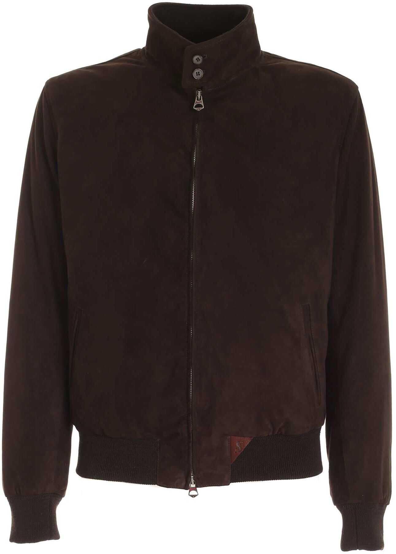Stewart Leather Jacket In Brown Brown imagine