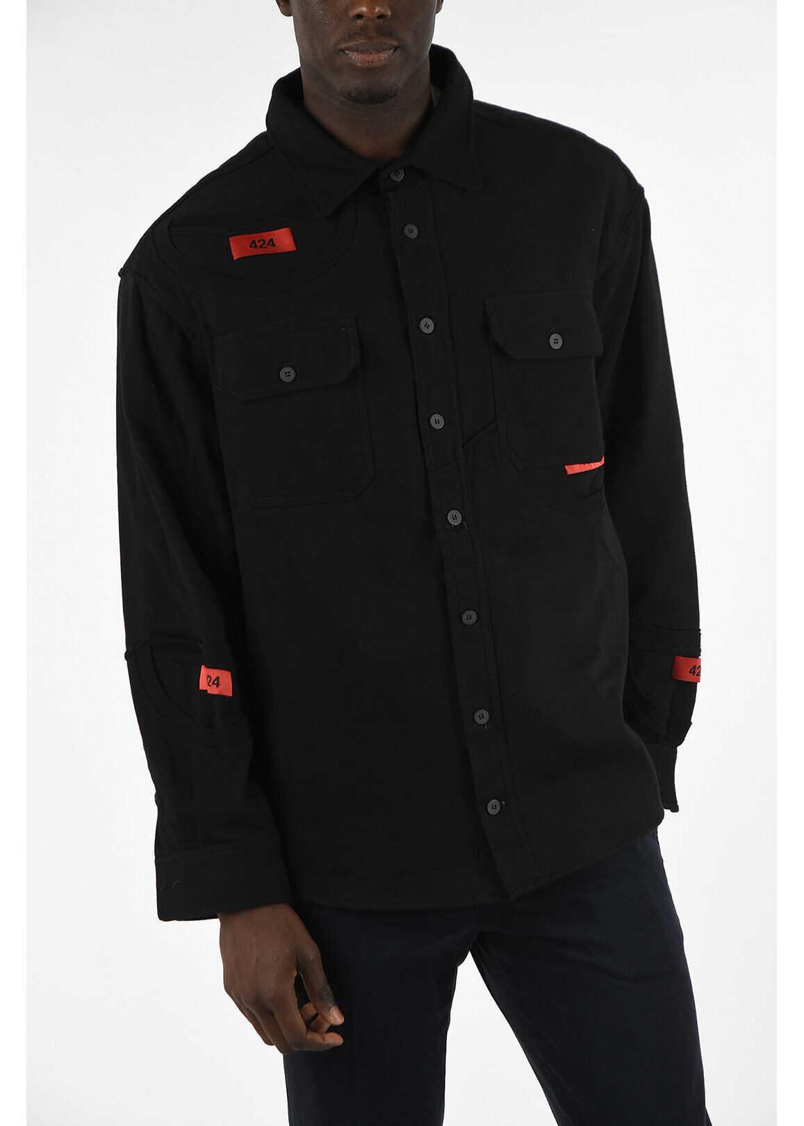 424 Overshirt Jacket with Pockets BLACK imagine