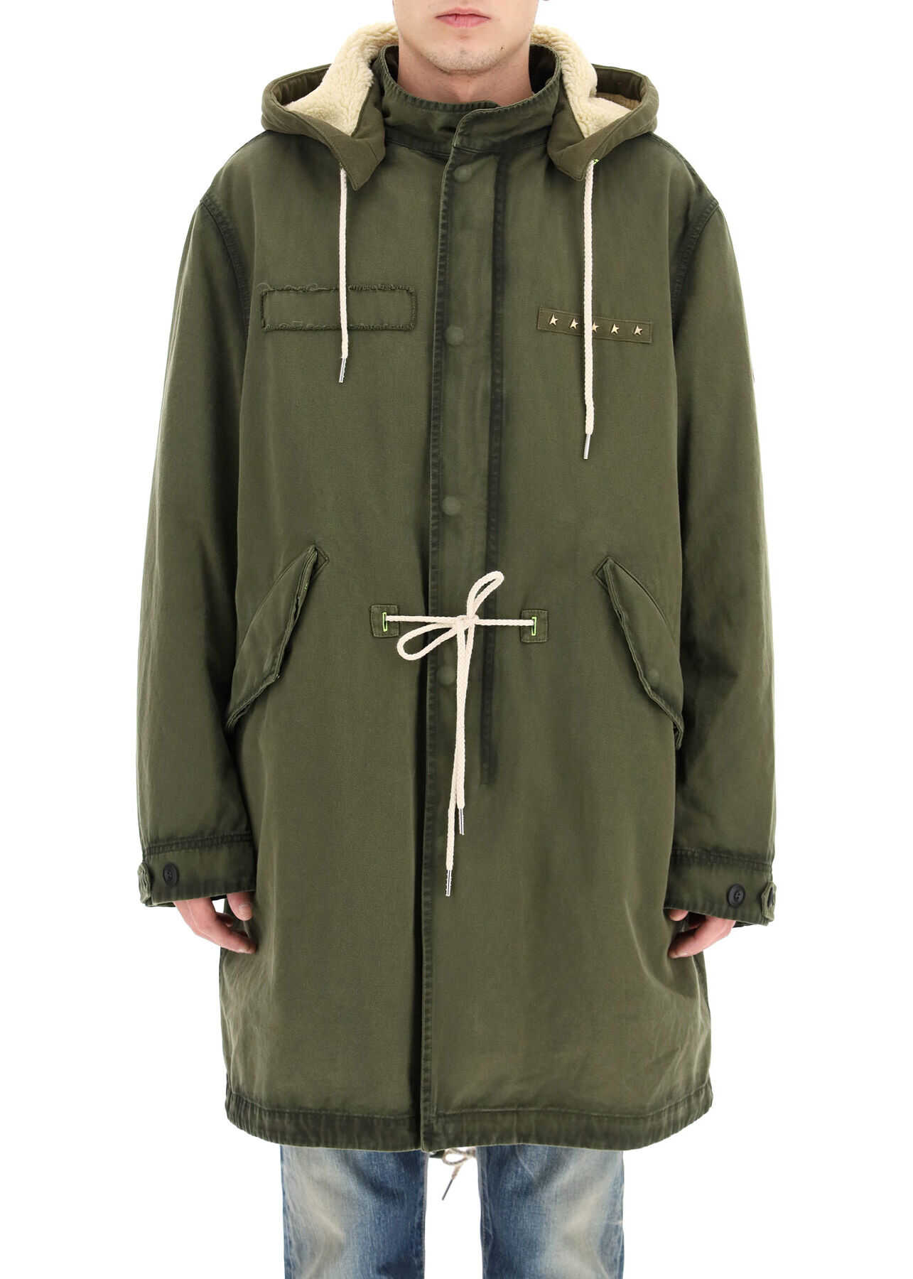 Golden Goose Abramo Parka With Ecological Fur ARMY GREEN imagine