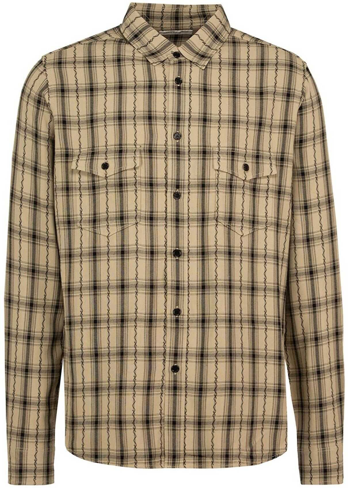 Saint Laurent Plaid Shirt In Beige Beige imagine