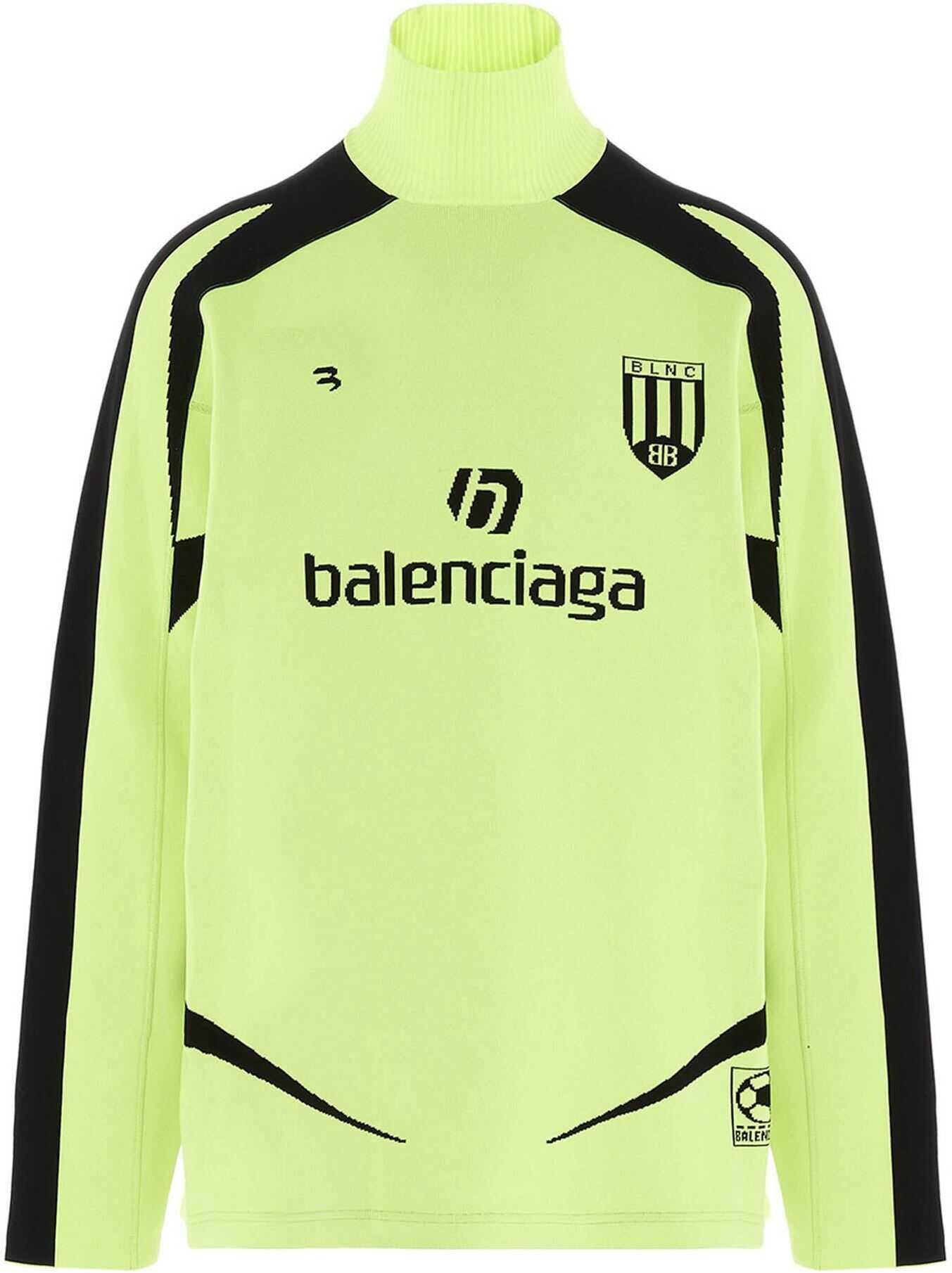 Balenciaga Soccer Turtleneck In Lime Yellow Yellow imagine