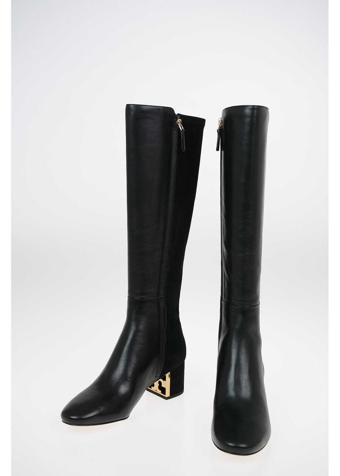 Tory Burch 5.5cm Suede leather GIGI Boots BLACK imagine b-mall.ro