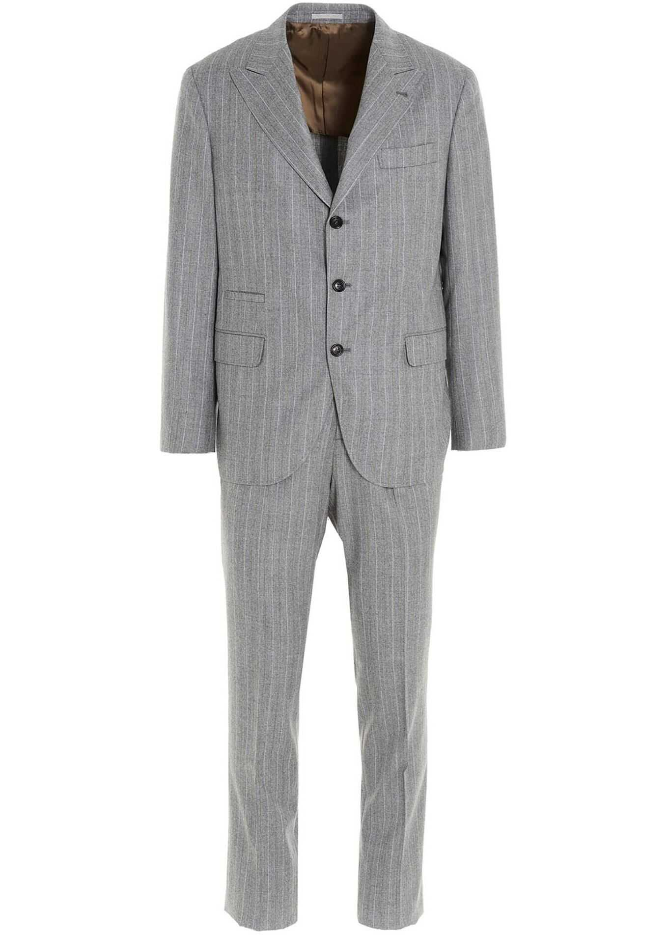 Brunello Cucinelli Pinstripe Suit In Light Grey Grey imagine