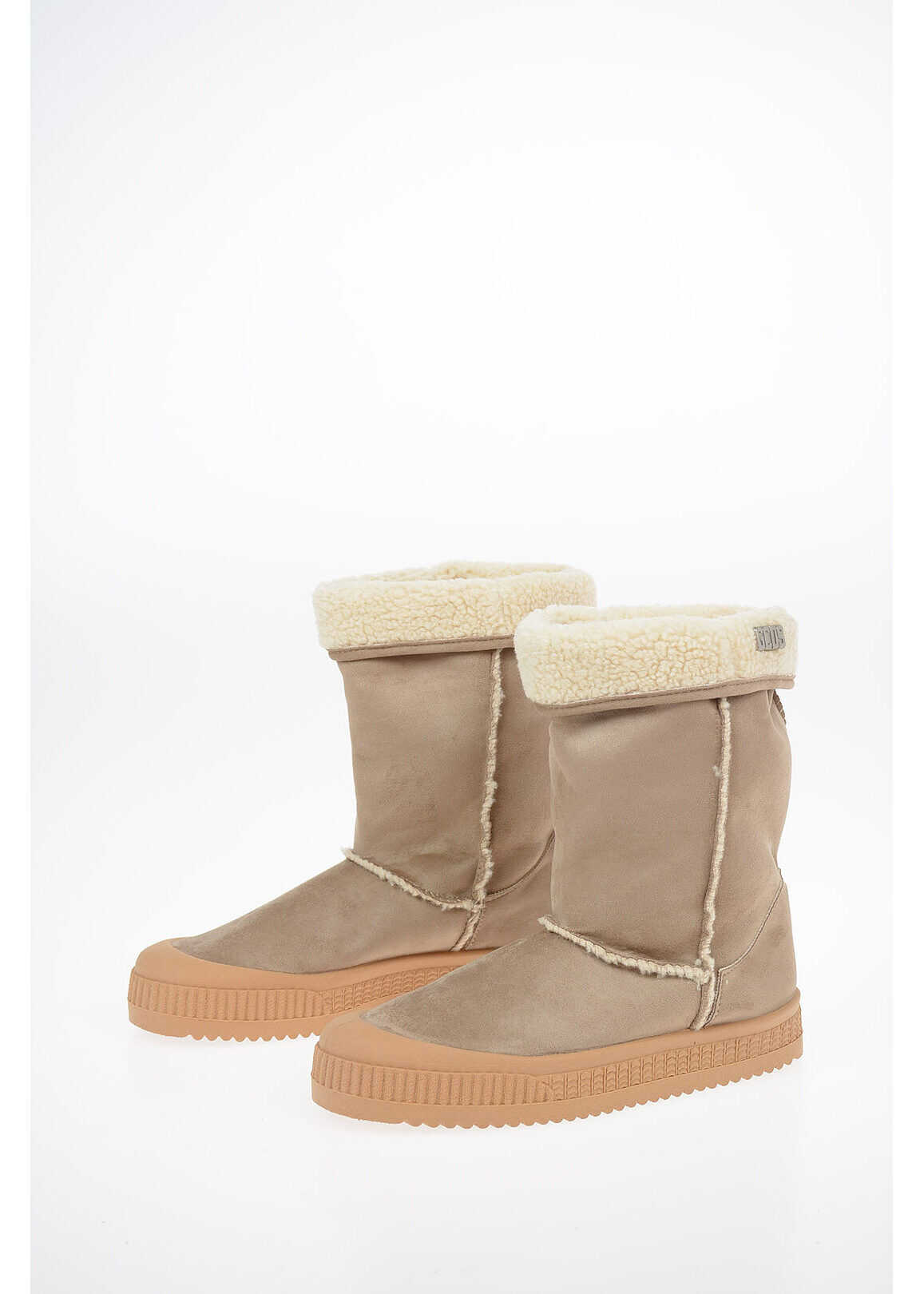 GCDS Suede Leather Ankle Boots BEIGE imagine b-mall.ro