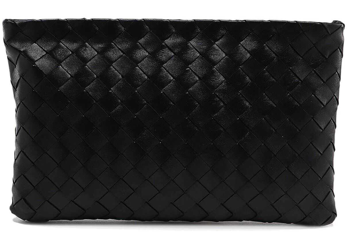 Bottega Veneta Zipped Woven Leather Clutch In Black 608232VCPP28803 Black imagine b-mall.ro
